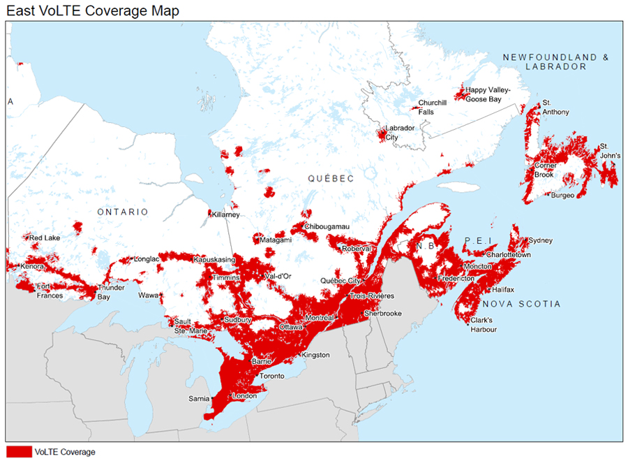 Ontario, Quebec and Atlantic Canada Coverage map