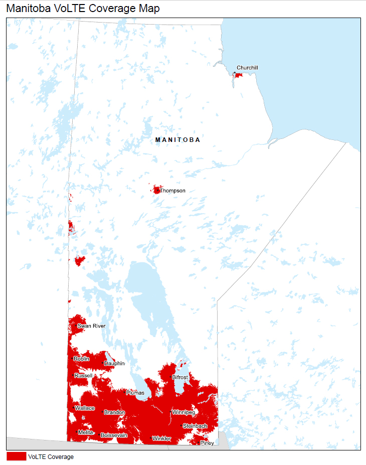 Manitoba, including Winnipeg and Brandon Coverage map