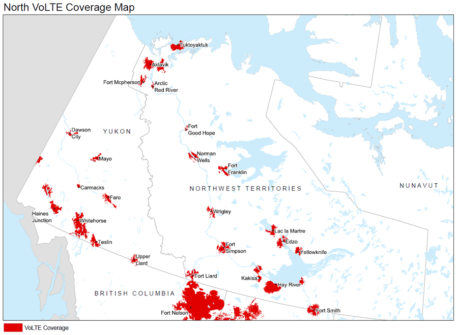 Yukon and Northwest Territories Coverage map