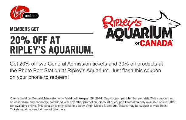 Members Get 20 Off At Ripley 39 S Aquarium Virgin Mobile